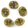 Lamp Bead Seashell 5Pc 22x18mm Leaf Green Dichroic